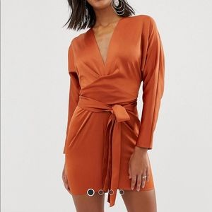 ASOS DESIGN dress w/ batwing sleeve and wrap waist